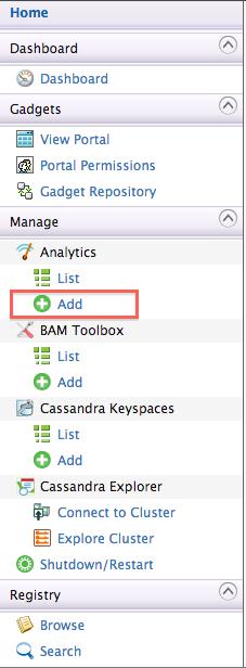 WSO2 BAM left hand menu - add analytics option